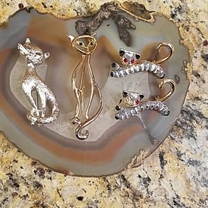 4 vintage cat brooch bundle GUC